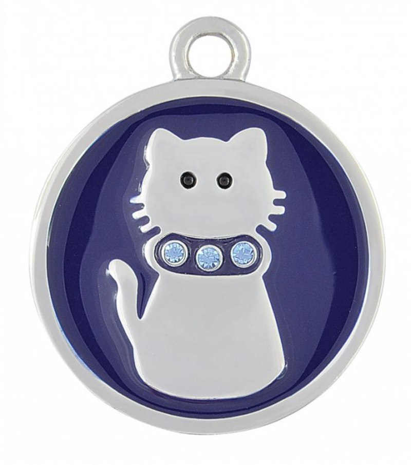 PENDANT STEEL BLUE CAT - 24.5 mm