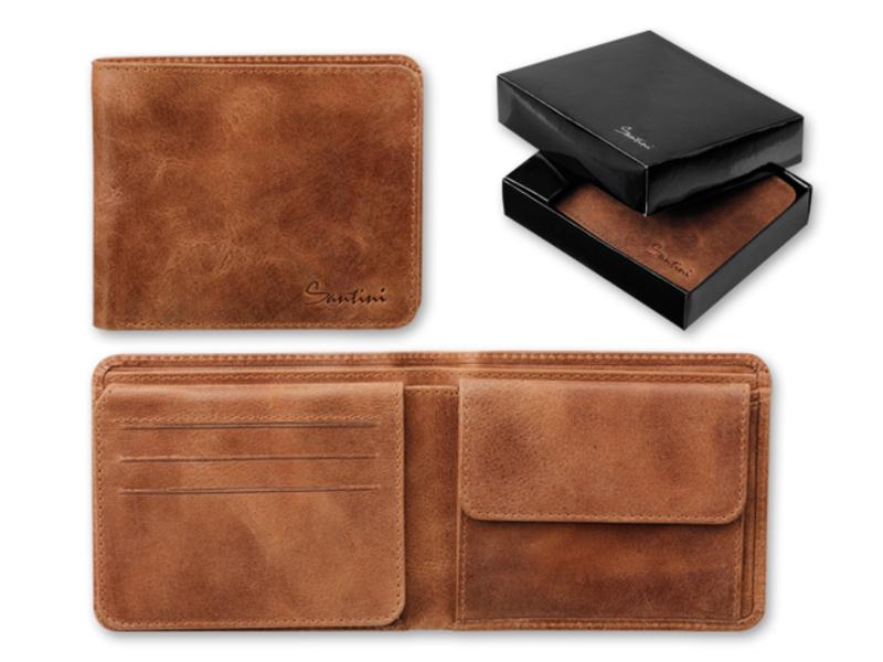 SEYMOUR men's wallet, SANTINI, Brown
