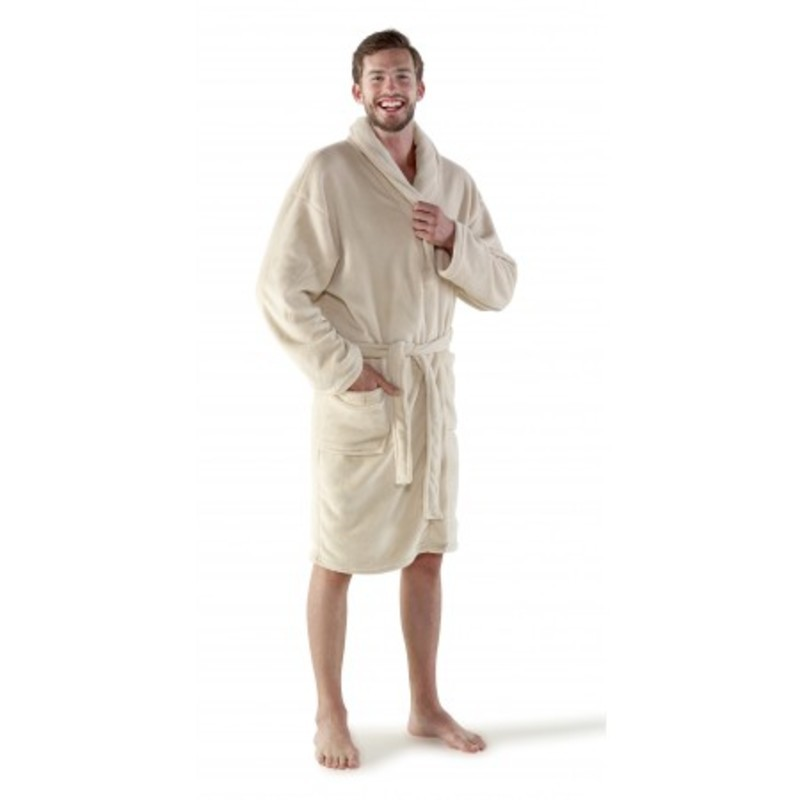 Fleece bathrobe with two sewed front pockets.