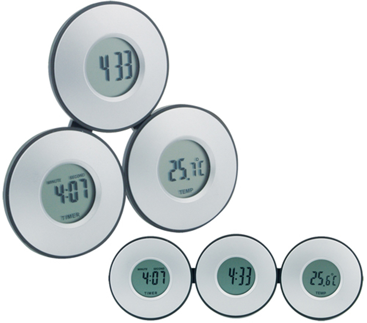 Tri clock and thermometer