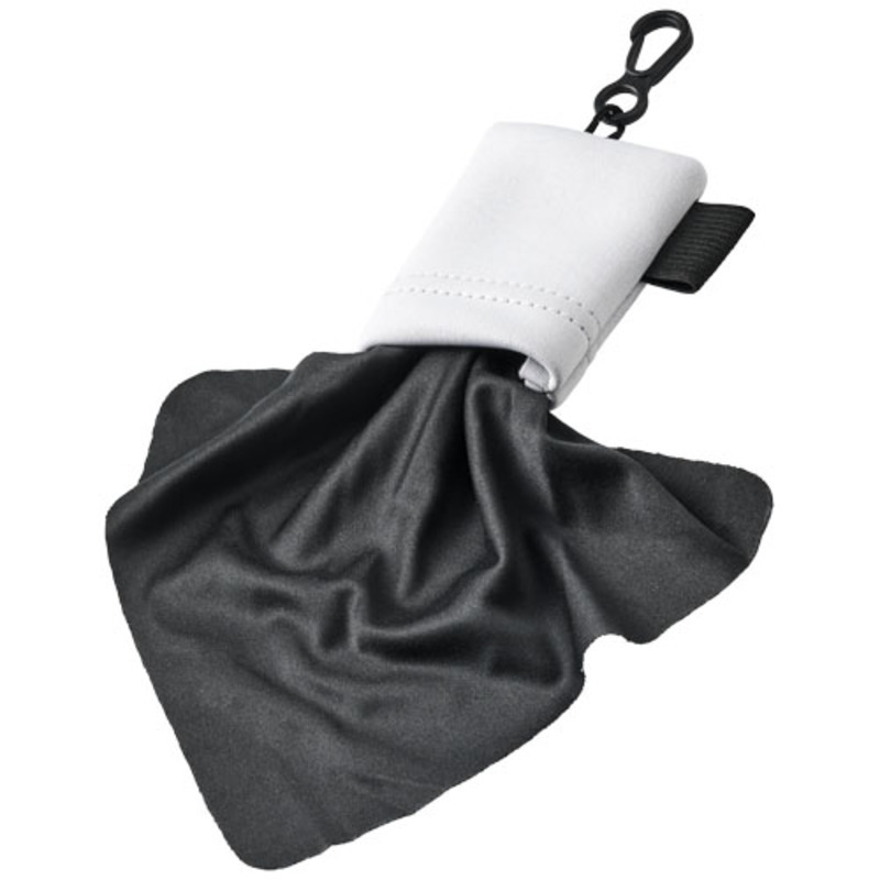 Clear microfiber cleaning cloth in pouch