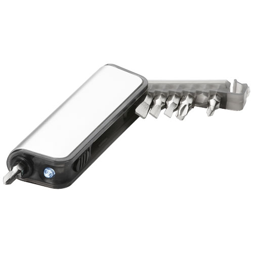 Reno 7-function mini tool box with LED flashlight