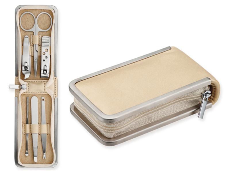 JENETTE six-part stainless steel manicure set, Satin gold