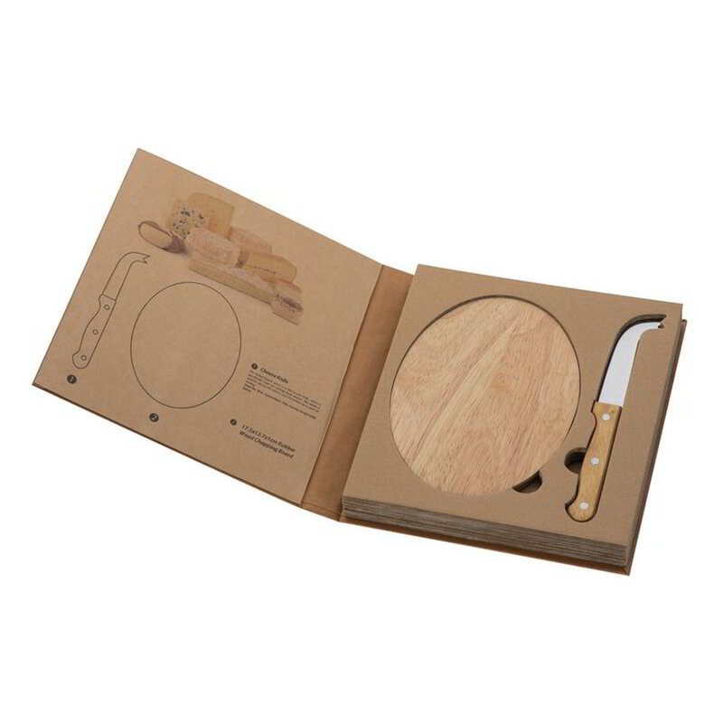 Cheese set with wooden cutting board