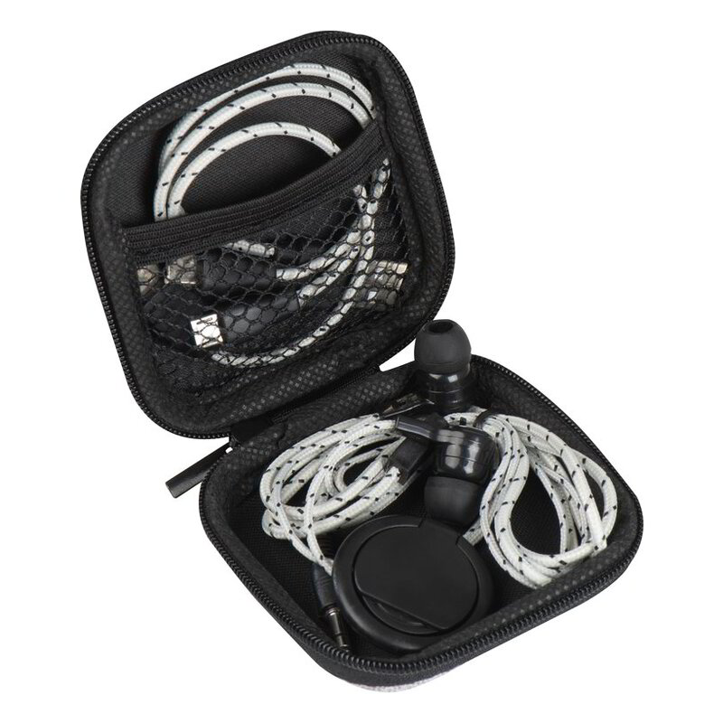 Travel set with charging cable, earphones