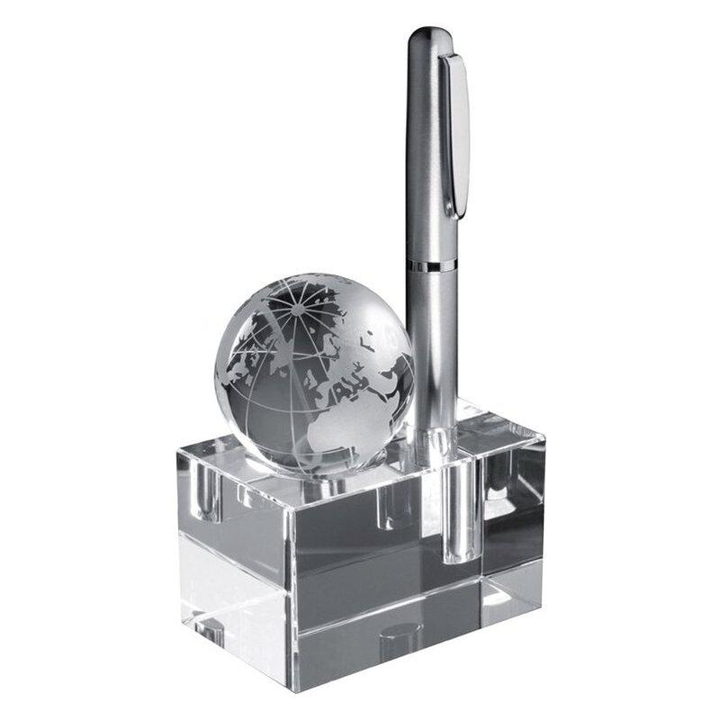 Glass block with globe