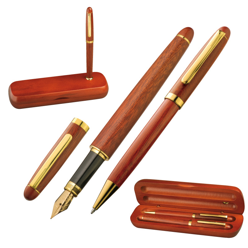Rosewood pen set in case