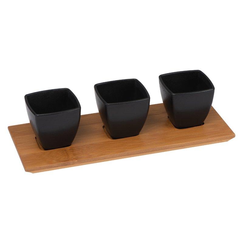 Small bowls set bamboo board