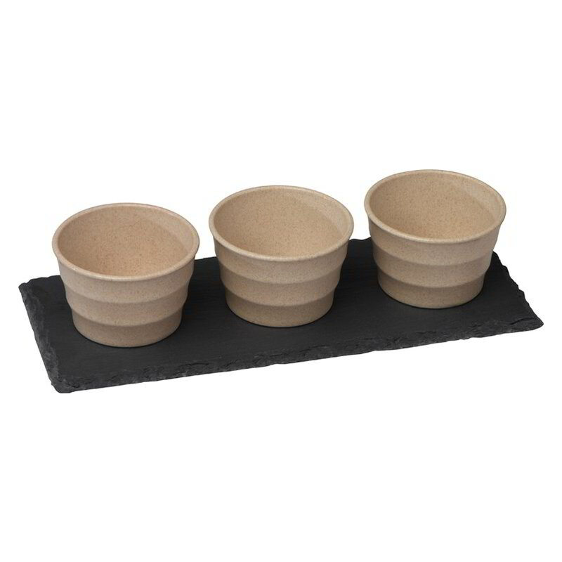 Small bowls set with slate board