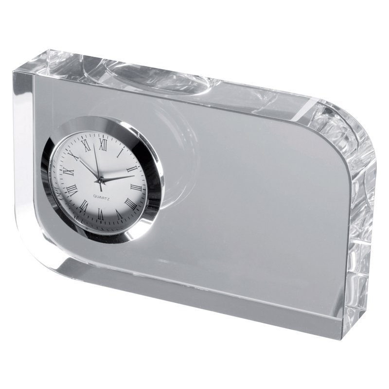 Glass block with small clock