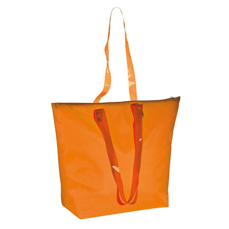 Beach bag transparent handles