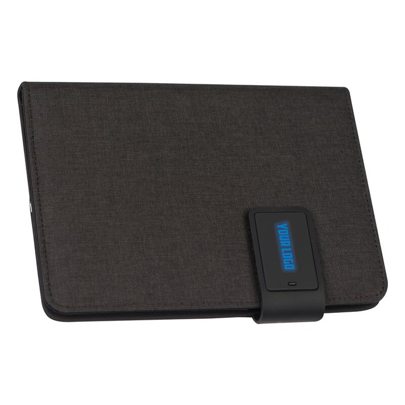 DIN A5 notebook with LED light and powerbank