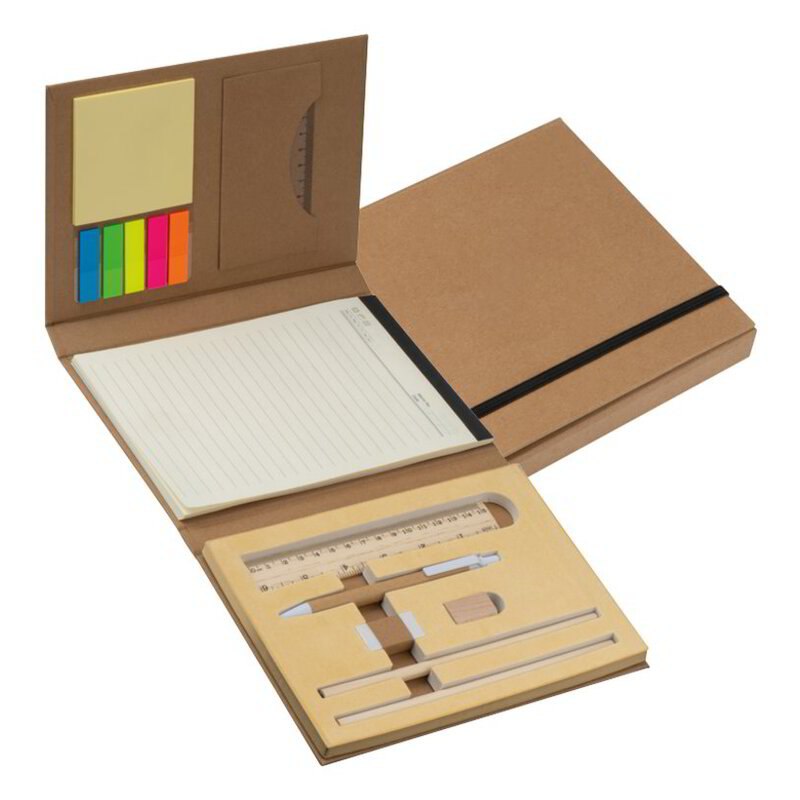 Writing case with cardboard cover, ruler