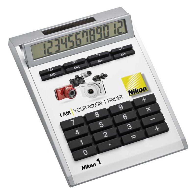 Own-design desk calculator with insert