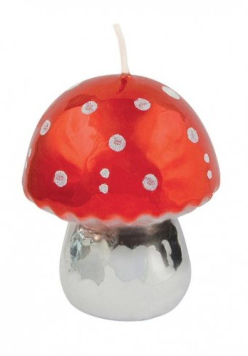 CANDLE RED MUSHROOM SHINY
