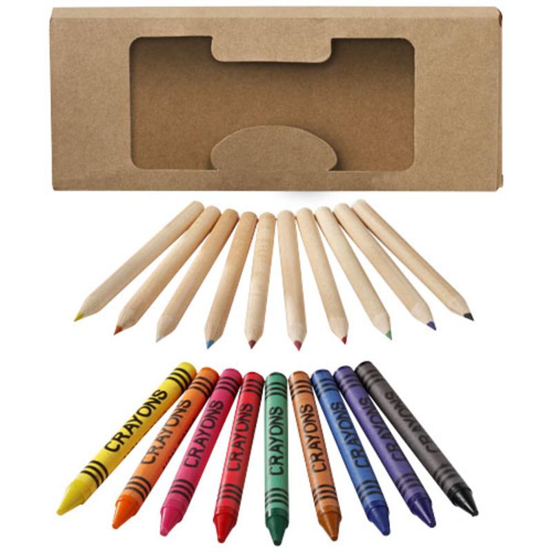Lucky 19-piece coloured pencil and crayon set