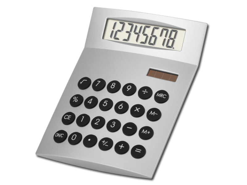JETHRO dual calculator with 8 dial display, Satin silver