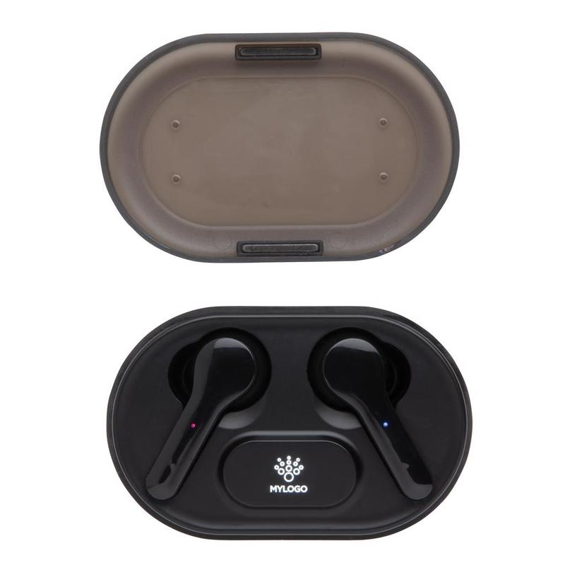 Light up logo TWS earbuds in charging case
