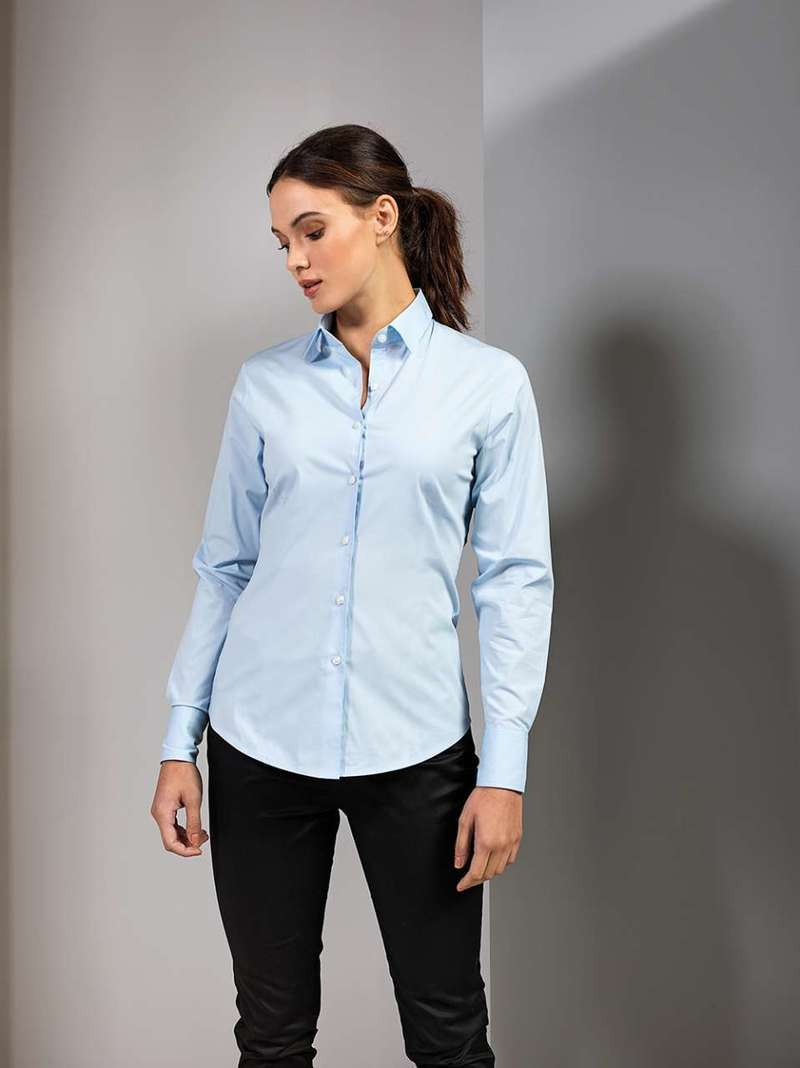 LADIES' STRETCH FIT POPLIN LONG SLEEVE COTTON SHIRT