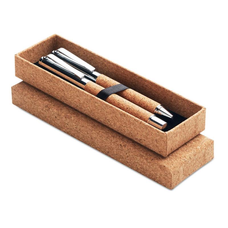 Metal Ball pen set in cork box