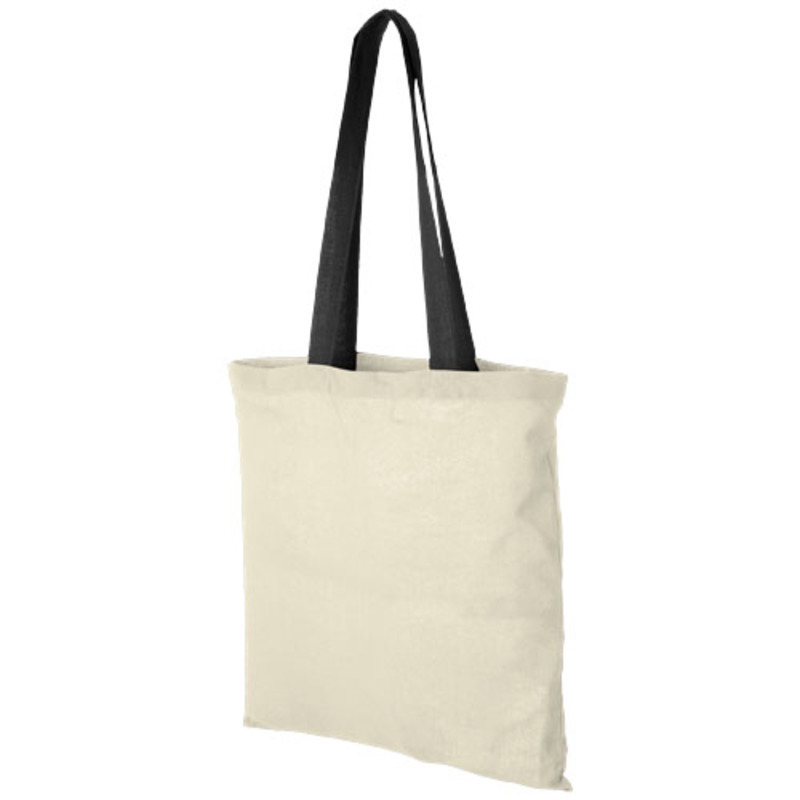 Nevada 100 g/m² cotton tote bag with coloured handles