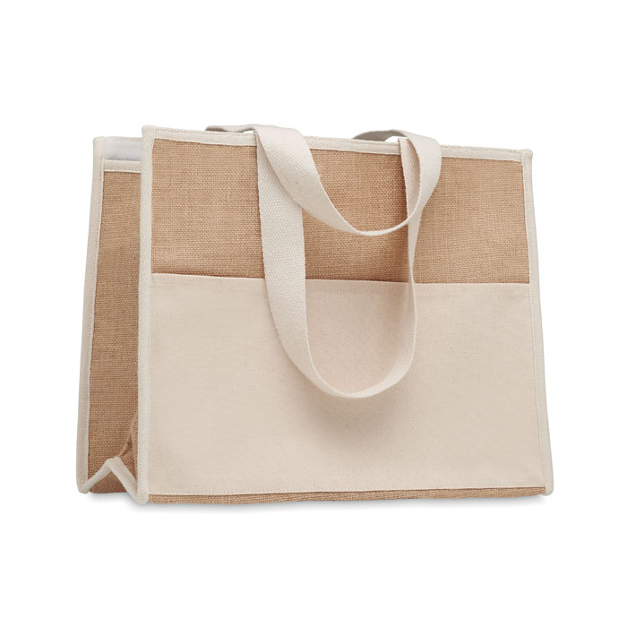 Jute and canvas cooler bag