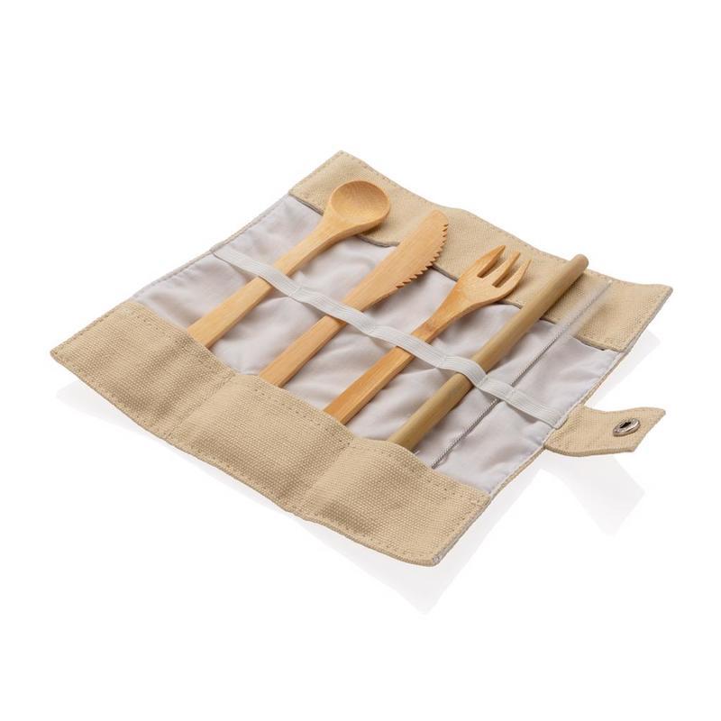 Reusable bamboo travel cutlery set