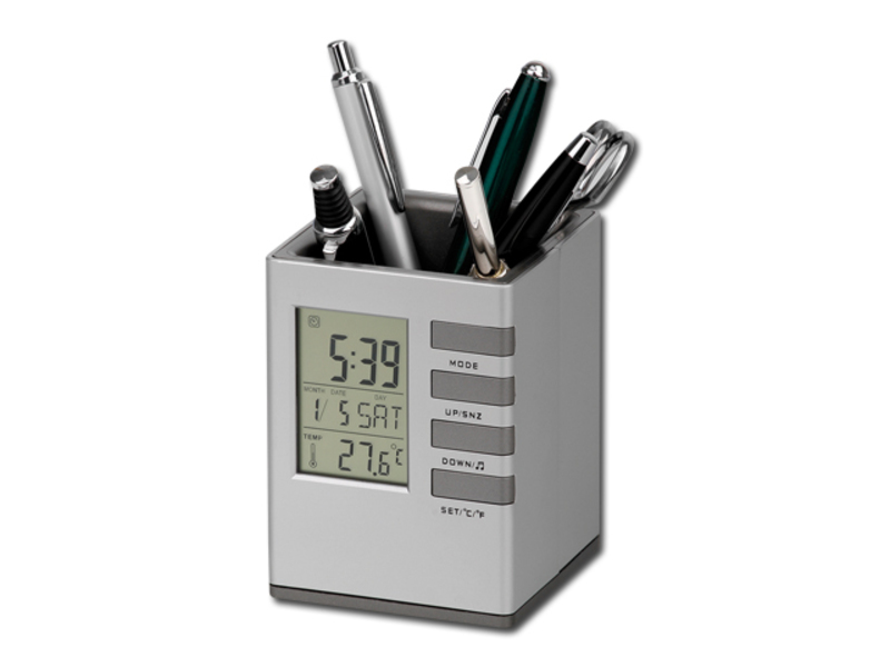 FABRIZIO pen stand with clock, Satin silver