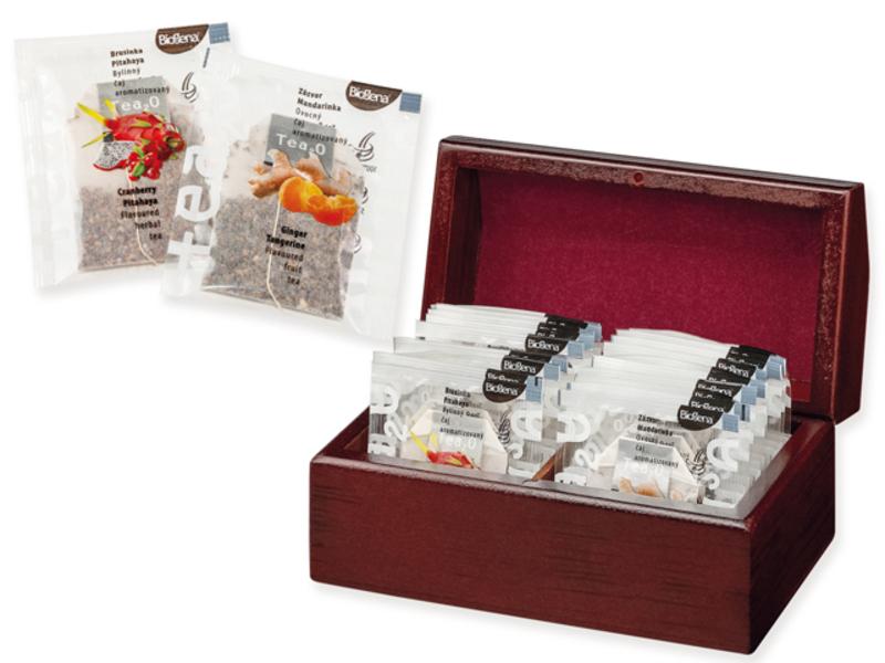 KENDRA set of tea bags (2x10 pcs) in wooden box, Natural