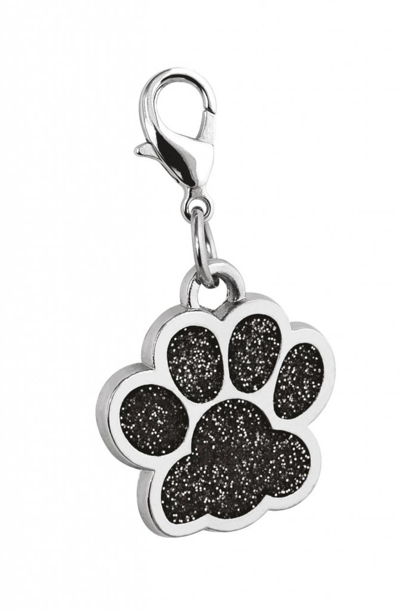 PENDANT PAW GLITTER BLACK - D=25 mm