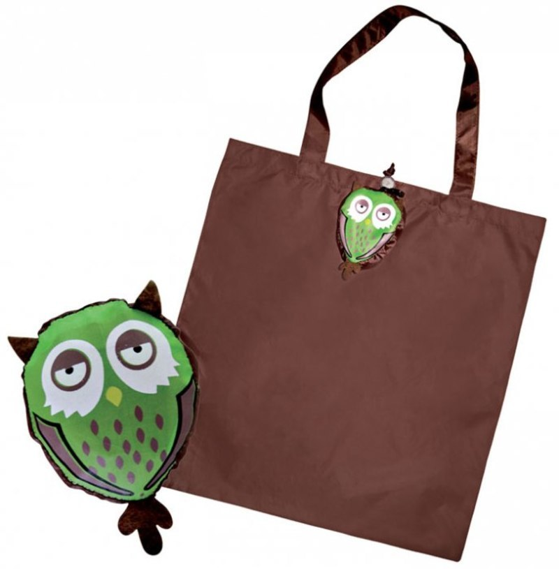 FOLDABLE SHOPPING BAG OWL green / brown