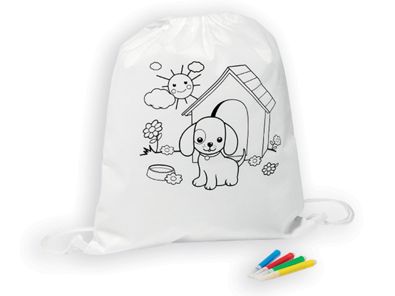 BARKIN children's backpack from non-woven textile with 4 felt-tip markers, White