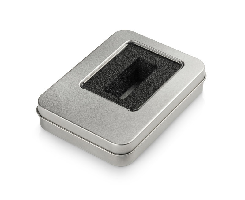 Large tin box for smaller USB flash drives (with inset)