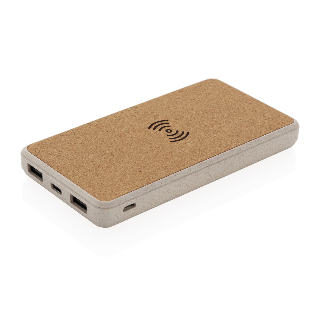 Cork and Wheat Straw 8.000 mAh 5W wireless powerbank