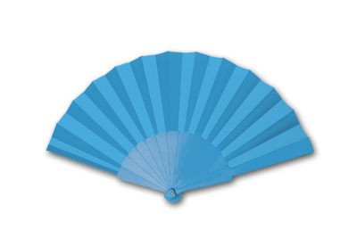 LIGHT BLUE PLASTIC HAND FAN FANNY