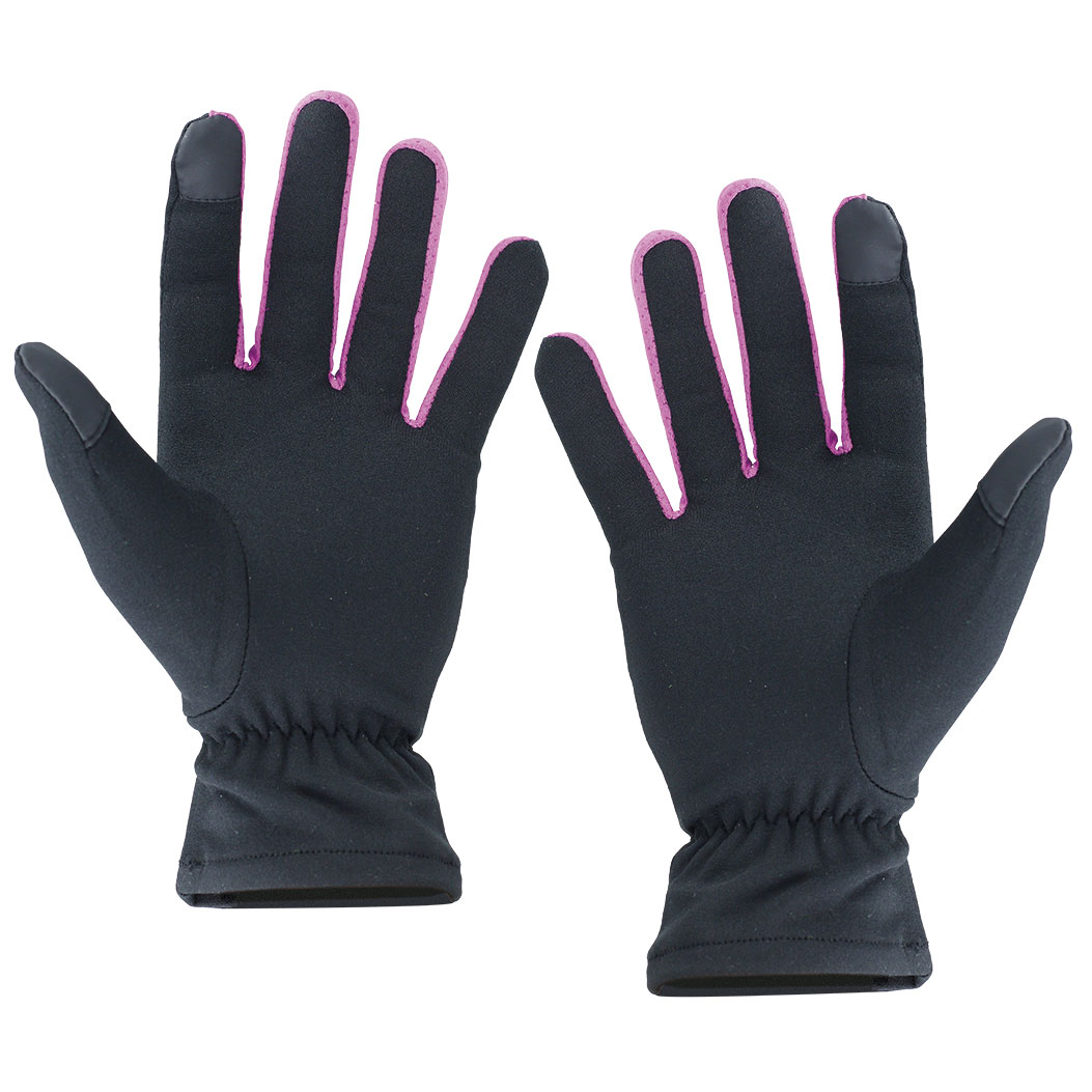 BLACK AND FUCHSIA POLYESTER GLOVE LAVA WITH TOUCH