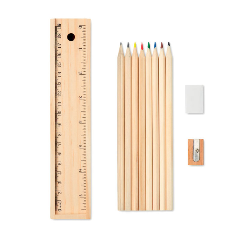 Stationery set in wooden box