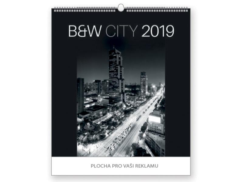B&W CITY wall calendar, 45x48 cm