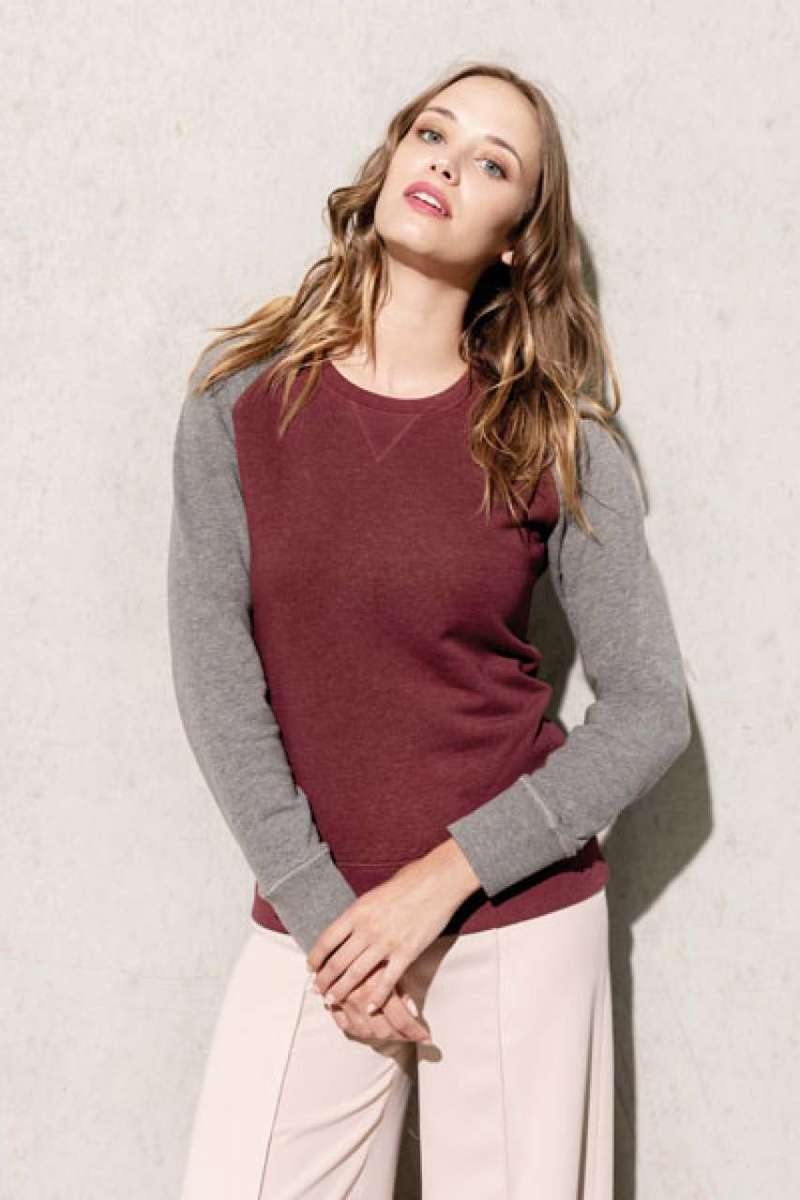 LADIES' TWO-TONE ORGANIC CREW NECK RAGLAN SLEEVE SWEATSHIRT