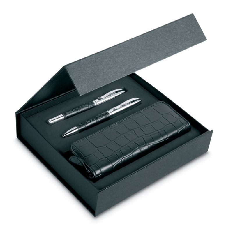 Pen set and pouch in PU case