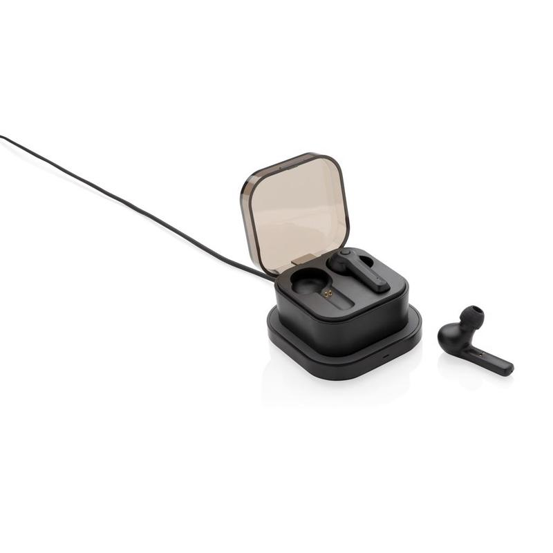 TWS earbuds in wireless charging case
