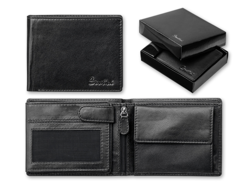 CORNELL men's wallet, SANTINI, Black