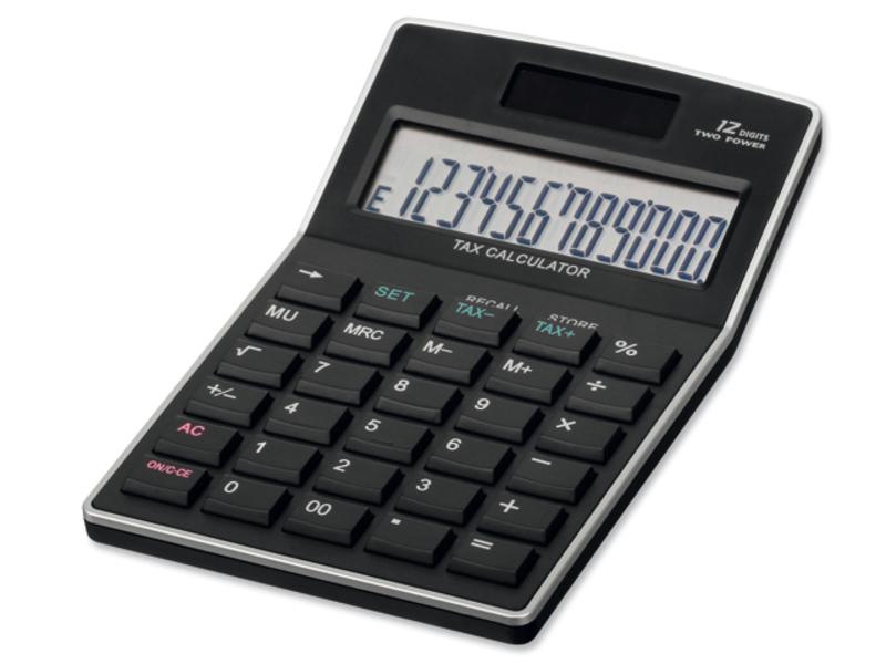 KALEB dual calculator with 12 dial display, Black