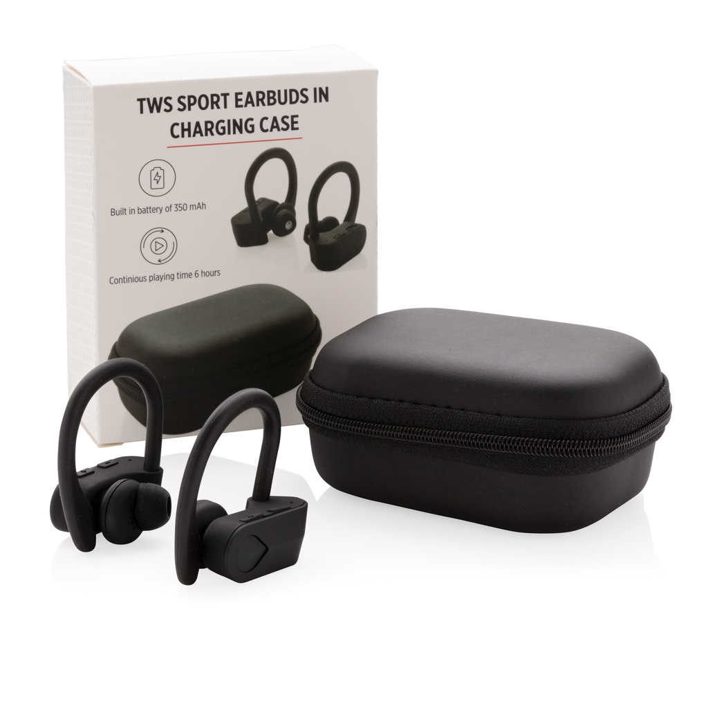 TWS sport earbuds in charging case