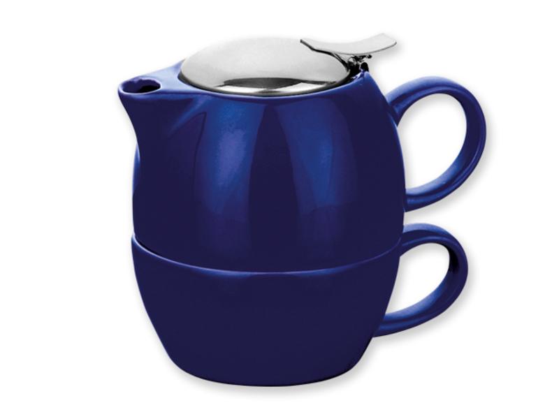 COLE tea set 2 in 1: pot and mug 200 ml, Blue
