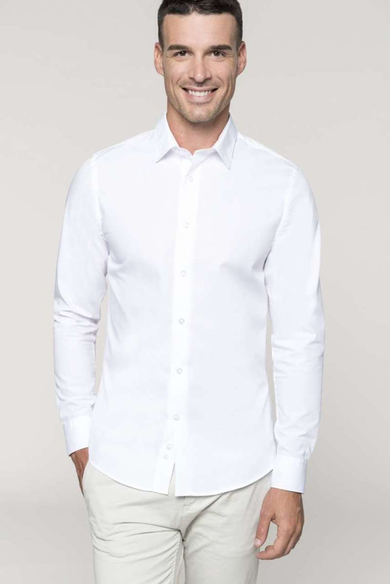 MEN'S LONG-SLEEVED COTTON POPLIN SHIRT