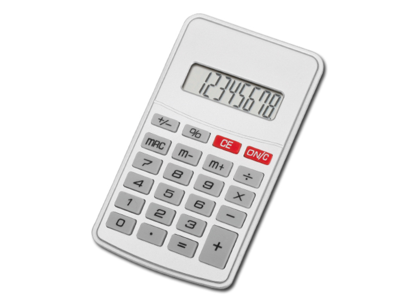 JASPER calculator with 8 dial display, Satin silver