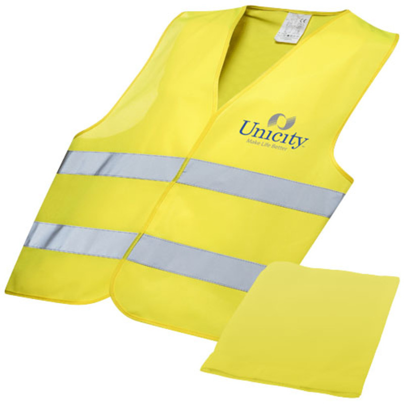 Watch-out safety vest in pouch for professional use