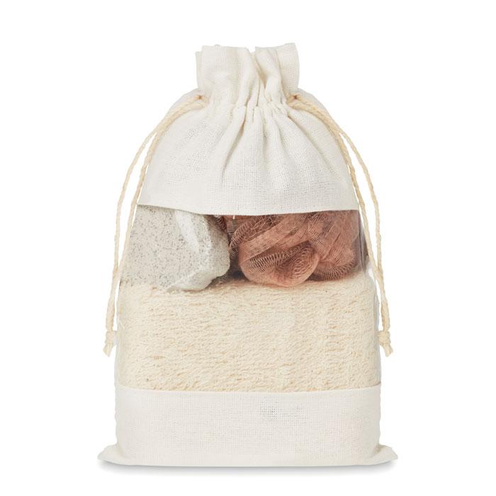 Bath set in cotton pouch
