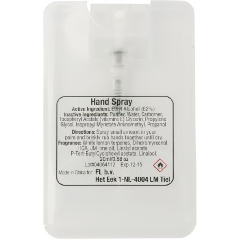 20ml Hand sanitizer spray.